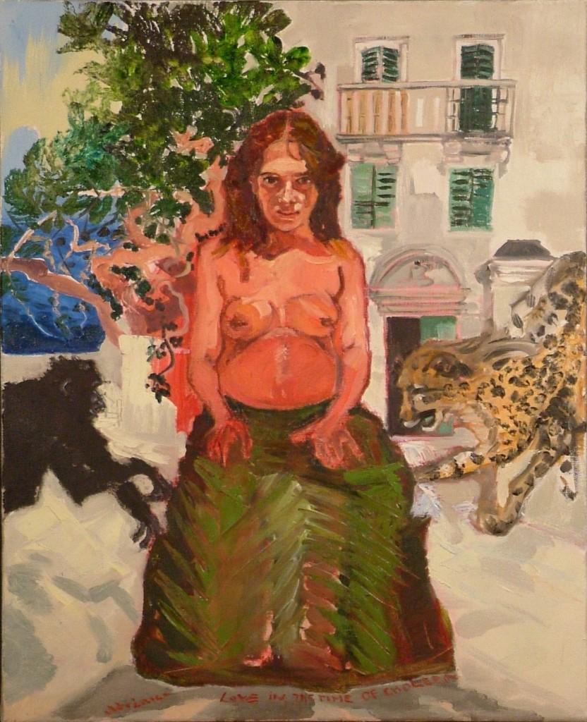 Miłość w czasach zarazy. Fermina Daza w obliczu katastrofy,olej na płótnie, 80 x 65 cm, 2006 Sabina Woźnica