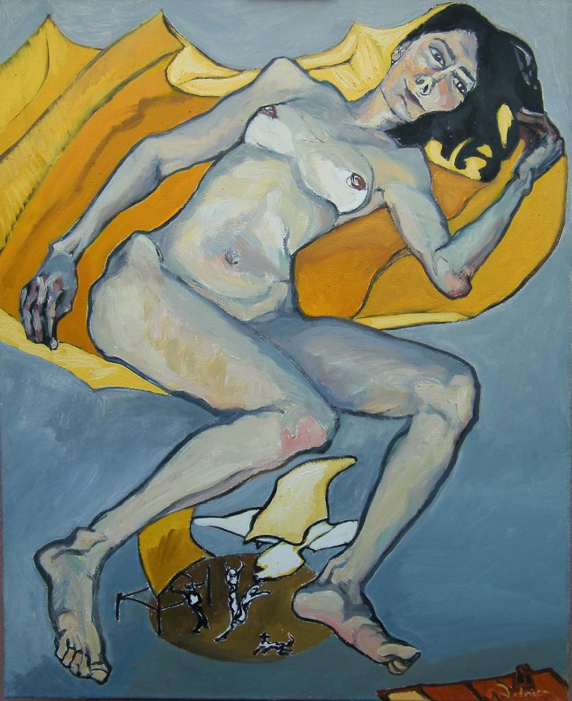 Sto lat samotności.Piękna Remedios lewituje,105 x 85 cm, olej na płótnie, 2005 Sabina Woźnica