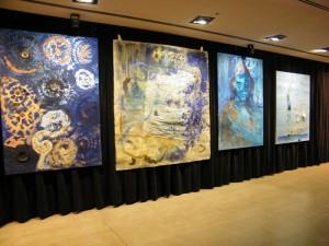 Comet, Triptych, stones, textile, oil on canvas,  200 x 190 cm 2010 Sabina Woźnica, MOS, Kraków